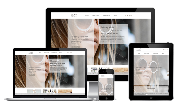 Responsive Ansicht Clay Fashion Store Potsdam